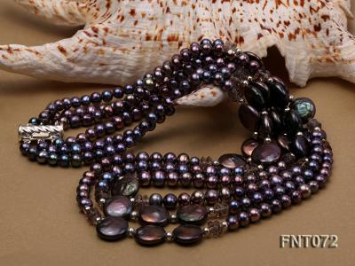 Dark-purple Freshwater Pearl Necklace and Bracelet Set FNT072 Image 4