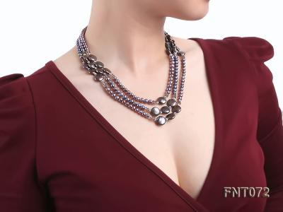 Dark-purple Freshwater Pearl Necklace and Bracelet Set FNT072 Image 9