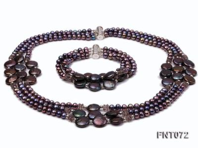 Dark-purple Freshwater Pearl Necklace and Bracelet Set FNT072 Image 1