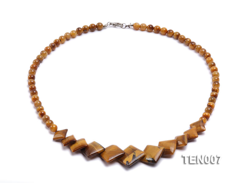 6mm Tiger Eye Beads and Square Tiger Eye Pieces Necklace big Image 1