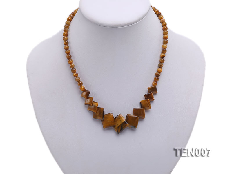 6mm Tiger Eye Beads and Square Tiger Eye Pieces Necklace big Image 2