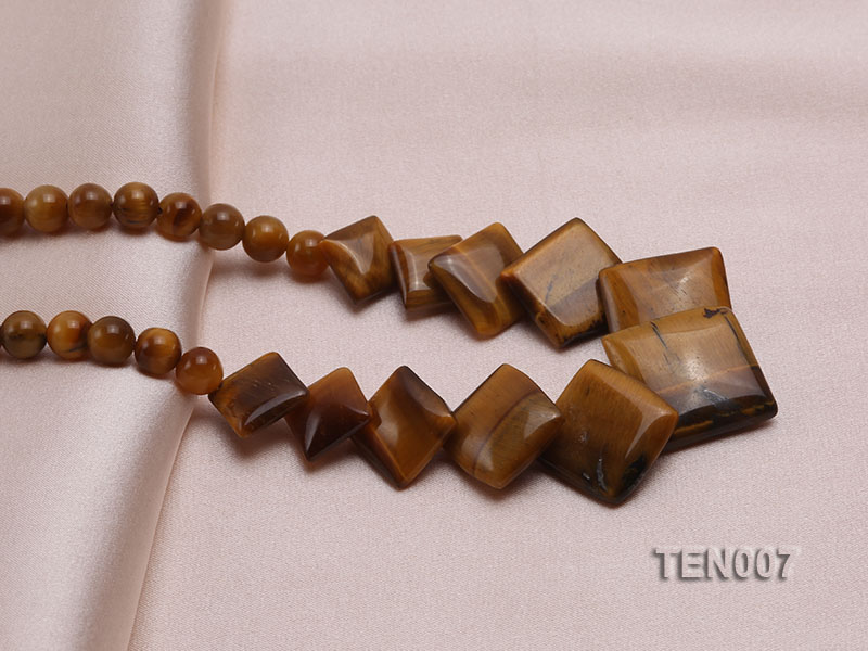 6mm Tiger Eye Beads and Square Tiger Eye Pieces Necklace big Image 3