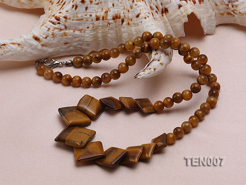 6mm Tiger Eye Beads and Square Tiger Eye Pieces Necklace big Image 4