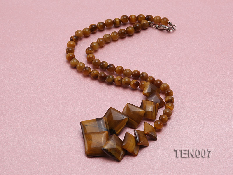 6mm Tiger Eye Beads and Square Tiger Eye Pieces Necklace big Image 5