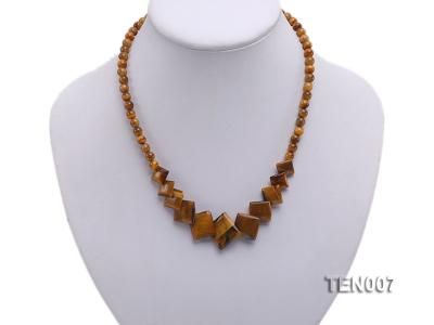 6mm Tiger Eye Beads and Square Tiger Eye Pieces Necklace TEN007 Image 2