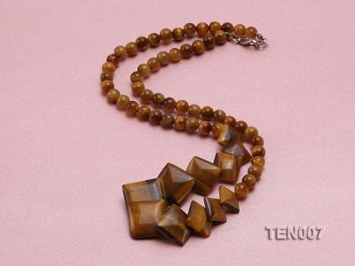6mm Tiger Eye Beads and Square Tiger Eye Pieces Necklace TEN007 Image 5
