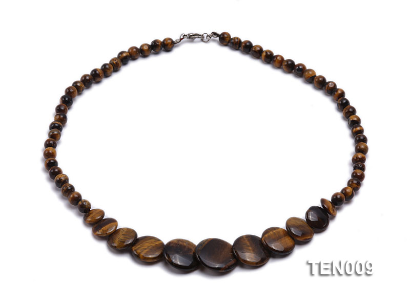 6mm Tiger Eye Beads and Button-shaped Tiger Eye Pieces Necklace big Image 1