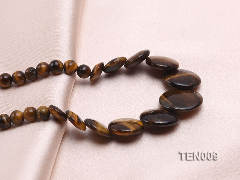 6mm Tiger Eye Beads and Button-shaped Tiger Eye Pieces Necklace big Image 2
