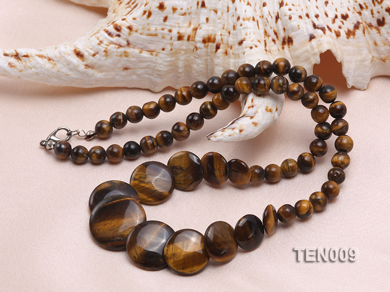 6mm Tiger Eye Beads and Button-shaped Tiger Eye Pieces Necklace big Image 3