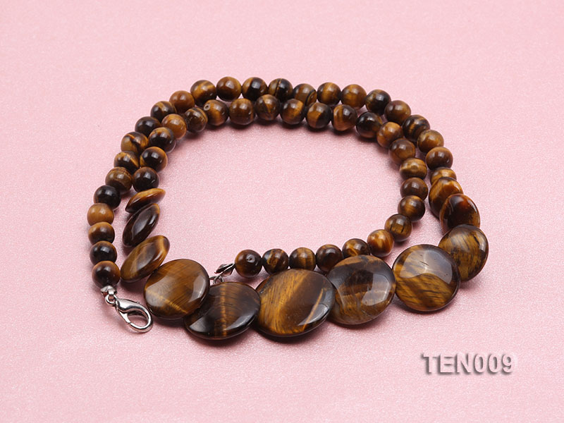 6mm Tiger Eye Beads and Button-shaped Tiger Eye Pieces Necklace big Image 4