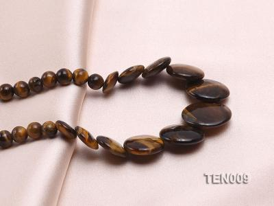 6mm Tiger Eye Beads and Button-shaped Tiger Eye Pieces Necklace TEN009 Image 2