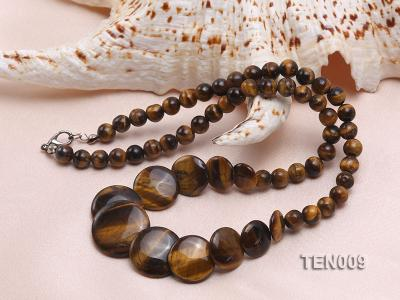 6mm Tiger Eye Beads and Button-shaped Tiger Eye Pieces Necklace TEN009 Image 3
