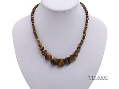 6mm Tiger Eye Beads and Button-shaped Tiger Eye Pieces Necklace TEN009 Image 5