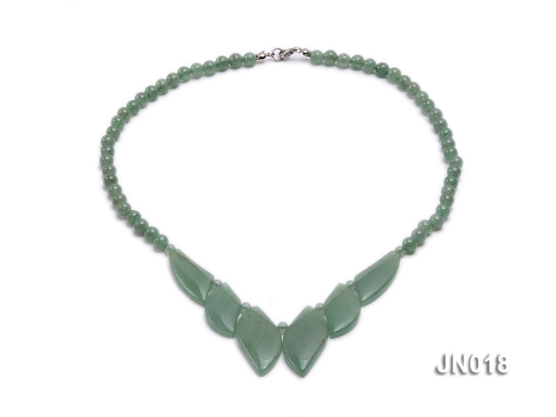 6mm Round Light Green and Leafy Aventurine Jade Necklace big Image 1