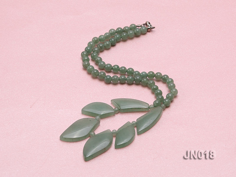 6mm Round Light Green and Leafy Aventurine Jade Necklace big Image 2