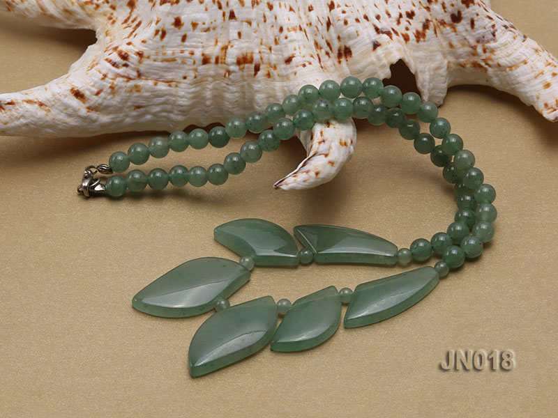 6mm Round Light Green and Leafy Aventurine Jade Necklace big Image 3