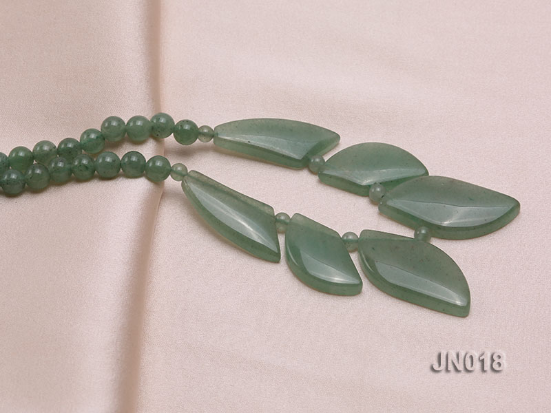 6mm Round Light Green and Leafy Aventurine Jade Necklace big Image 4