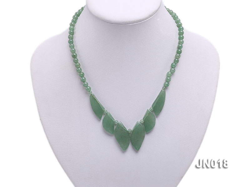 6mm Round Light Green and Leafy Aventurine Jade Necklace big Image 5