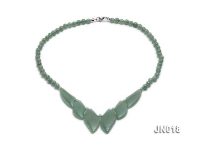 6mm Round Light Green and Leafy Aventurine Jade Necklace JN018 Image 1