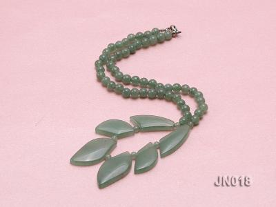 6mm Round Light Green and Leafy Aventurine Jade Necklace JN018 Image 2
