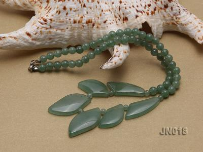6mm Round Light Green and Leafy Aventurine Jade Necklace JN018 Image 3