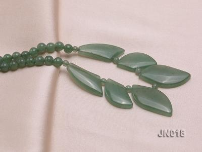 6mm Round Light Green and Leafy Aventurine Jade Necklace JN018 Image 4