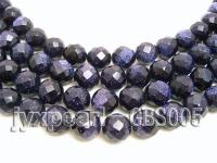 wholesale 14mm faceted round Blue Sand Stone strings GBS005