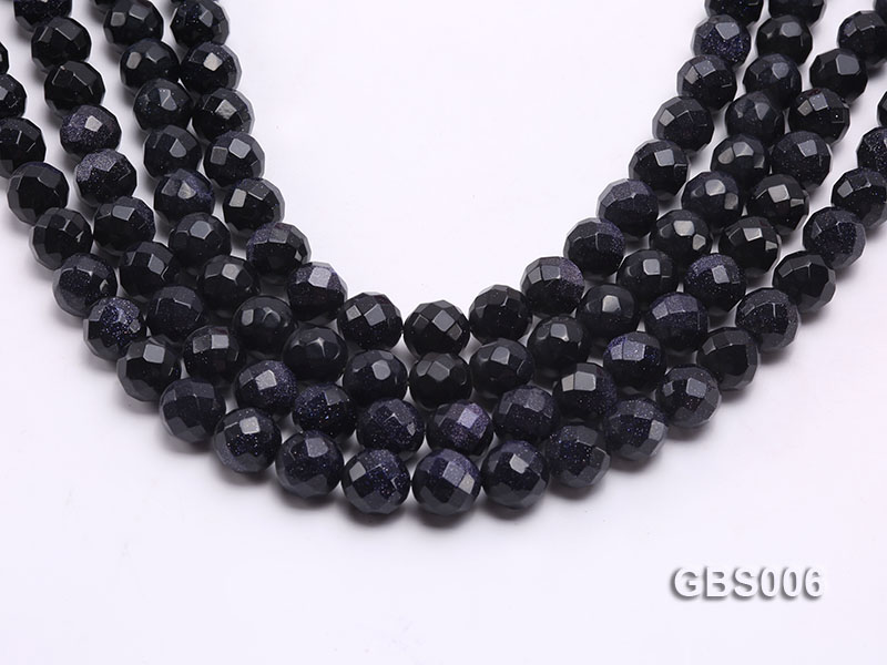 wholesale 12mm faceted round Blue Sandstone strings big Image 1