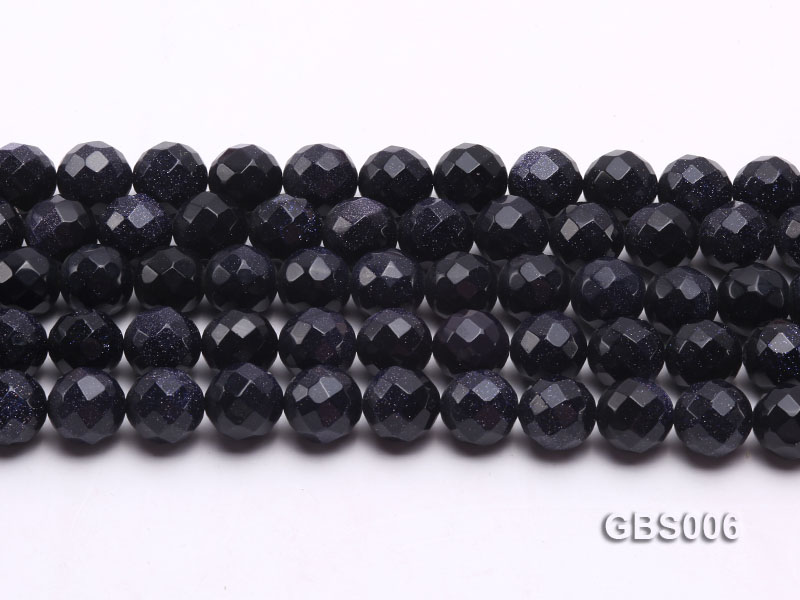 wholesale 12mm faceted round Blue Sandstone strings big Image 2