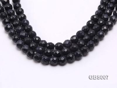 wholesale 10mm faceted round Blue Sand Stone strings GBS007 Image 1