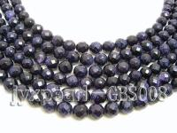 wholesale 8mm faceted round Blue Sand Stone strings GBS008