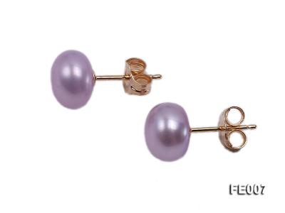 8.5mm Lavender Flat Cultured Freshwater Pearl Earrings FE007 Image 2