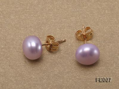 8.5mm Lavender Flat Cultured Freshwater Pearl Earrings FE007 Image 4