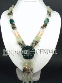 5-12mm green broken chips semi-precious gemstone necklace CFN041