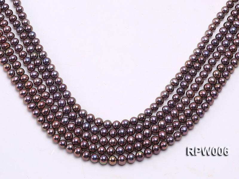 Wholesale 7-8mm Black Round Freshwater Pearl String big Image 1