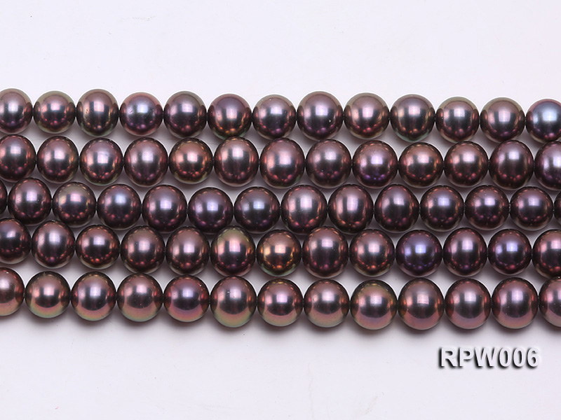 Wholesale 7-8mm Black Round Freshwater Pearl String big Image 2