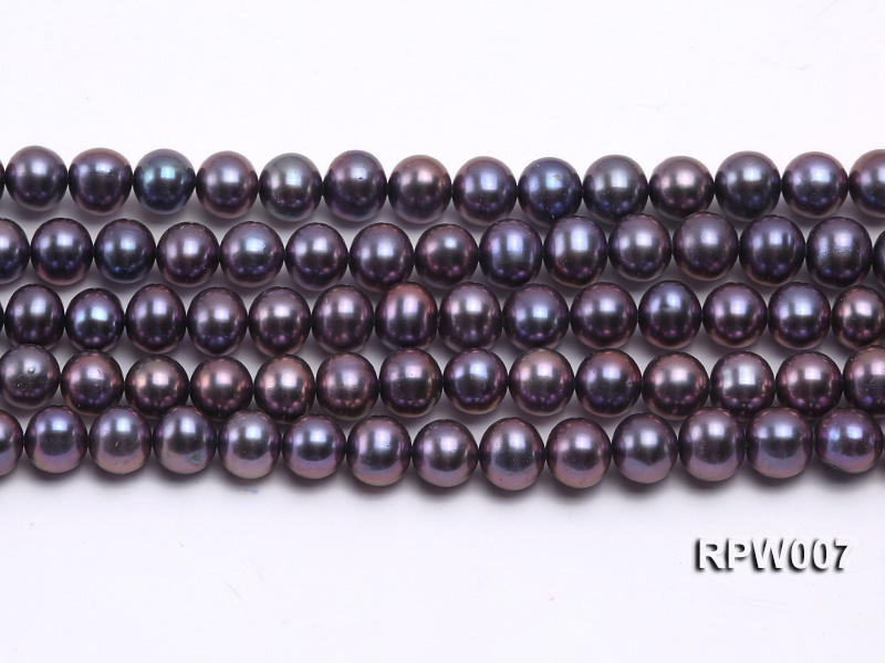 Wholesale 7.5-8.5mm Purplish Black Round Freshwater Pearl String  big Image 1