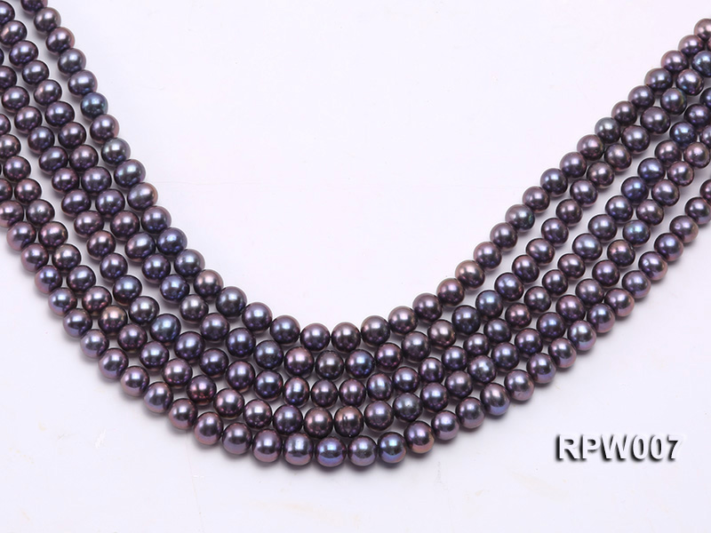 Wholesale 7.5-8.5mm Purplish Black Round Freshwater Pearl String  big Image 2