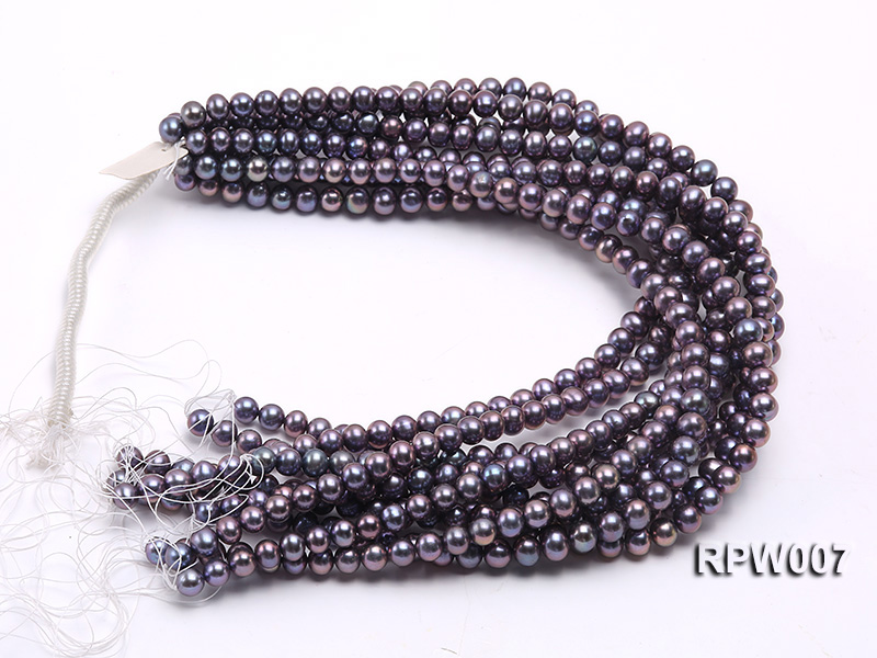 Wholesale 7.5-8.5mm Purplish Black Round Freshwater Pearl String  big Image 3