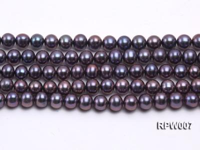 Wholesale 7.5-8.5mm Purplish Black Round Freshwater Pearl String  RPW007 Image 1
