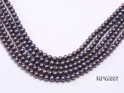 Wholesale 7.5-8.5mm Purplish Black Round Freshwater Pearl String  RPW007 Image 2