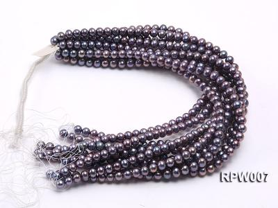 Wholesale 7.5-8.5mm Purplish Black Round Freshwater Pearl String  RPW007 Image 3