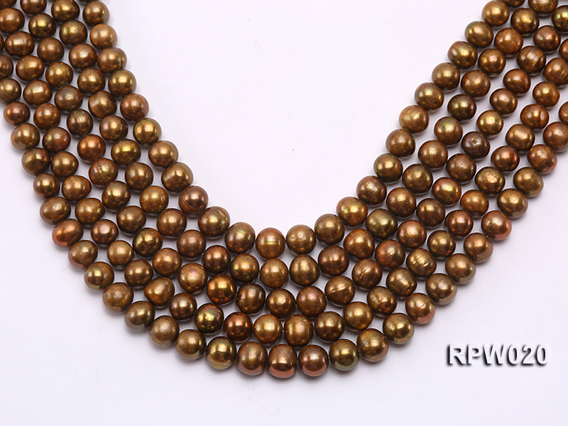 Wholesale 10mm Dark Coffee Round Freshwater Pearl String big Image 1