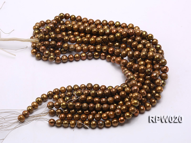 Wholesale 10mm Dark Coffee Round Freshwater Pearl String big Image 3