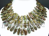 10x35mm green biwa-shaped and white tiny pearl multi-strand necklace FNO032