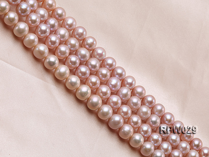 Wholesale AAA-grade 10-11mm Pink Round Freshwater Pearl String big Image 3