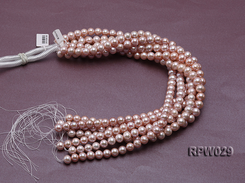 Wholesale AAA-grade 10-11mm Pink Round Freshwater Pearl String big Image 4