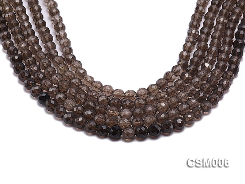 Wholesale 8mm Round Faceted Smoky Quartz Beads String big Image 1