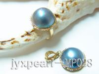 16mm natural blue mabe pearl pendant and ring with 14k gold MP028