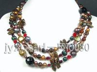 7-8mm coffee freshwater pearl and red crystal and blwa pearl and black agate opera necklace FNO080